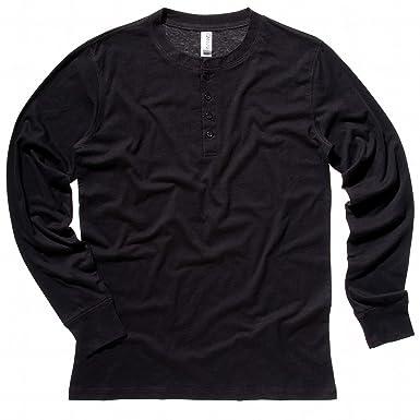 dd9d59ac Mens Bella Canvas Slim Long Sleeved Henley 4 Button Placket Shirt Black  Size S