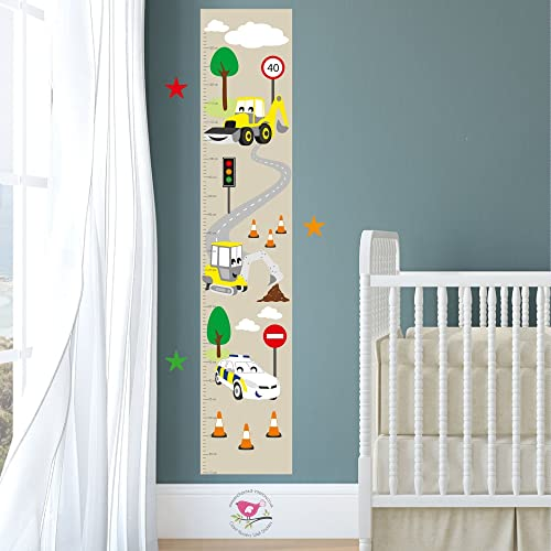 Digger Height Chart For Kids Construction Growth Chart For Children