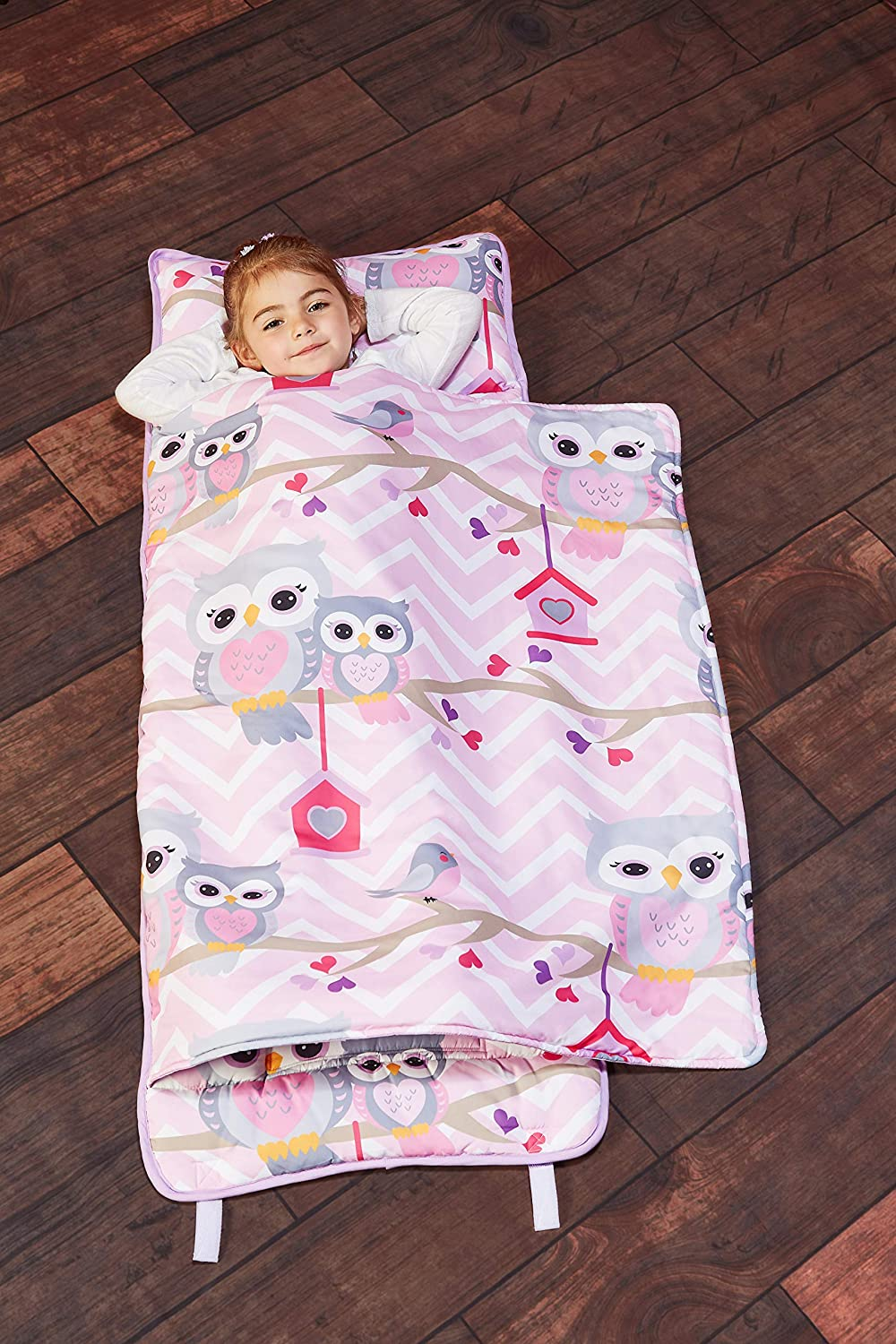 EVERYDAY KIDS Toddler Nap Mat with Removable Pillow - Sweet Owls - Carry Handle with Straps Closure, Rollup Design, Soft Microfiber for Preschool, Daycare, Travel Sleeping Bag - Ages 3-6 Years