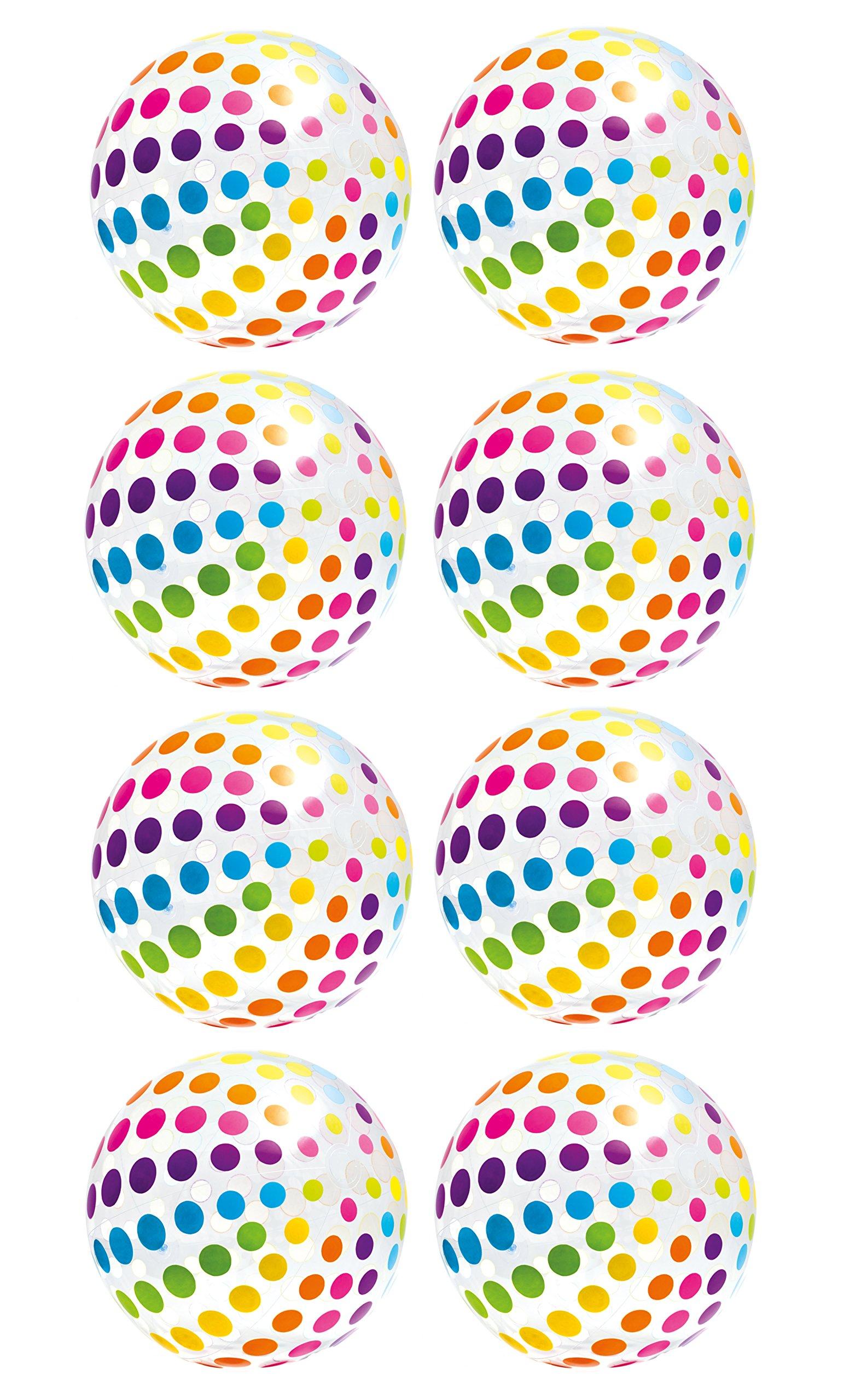 Intex Jumbo Inflatable Big Panel Colorful Polka Dot Giant Beach Balls (Set of 8)