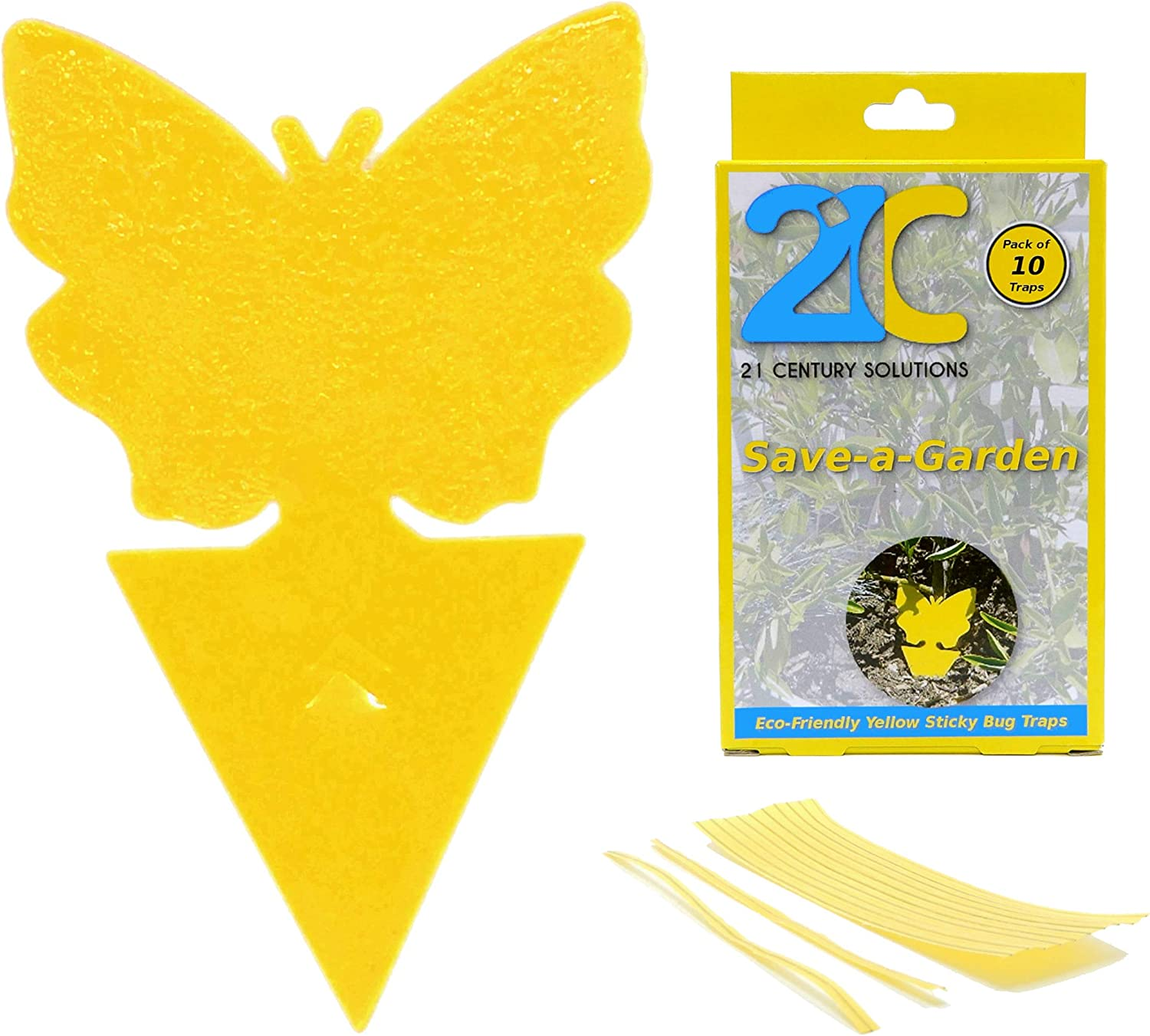 21C 21 Century Solutions Yellow Dual Sticky Fly Traps 10-Pack for Gnat Whiteflies Fungus Gnats Flying Insects - Houseplant Disposable Glue Trappers Save a Garden Butterfly Shape