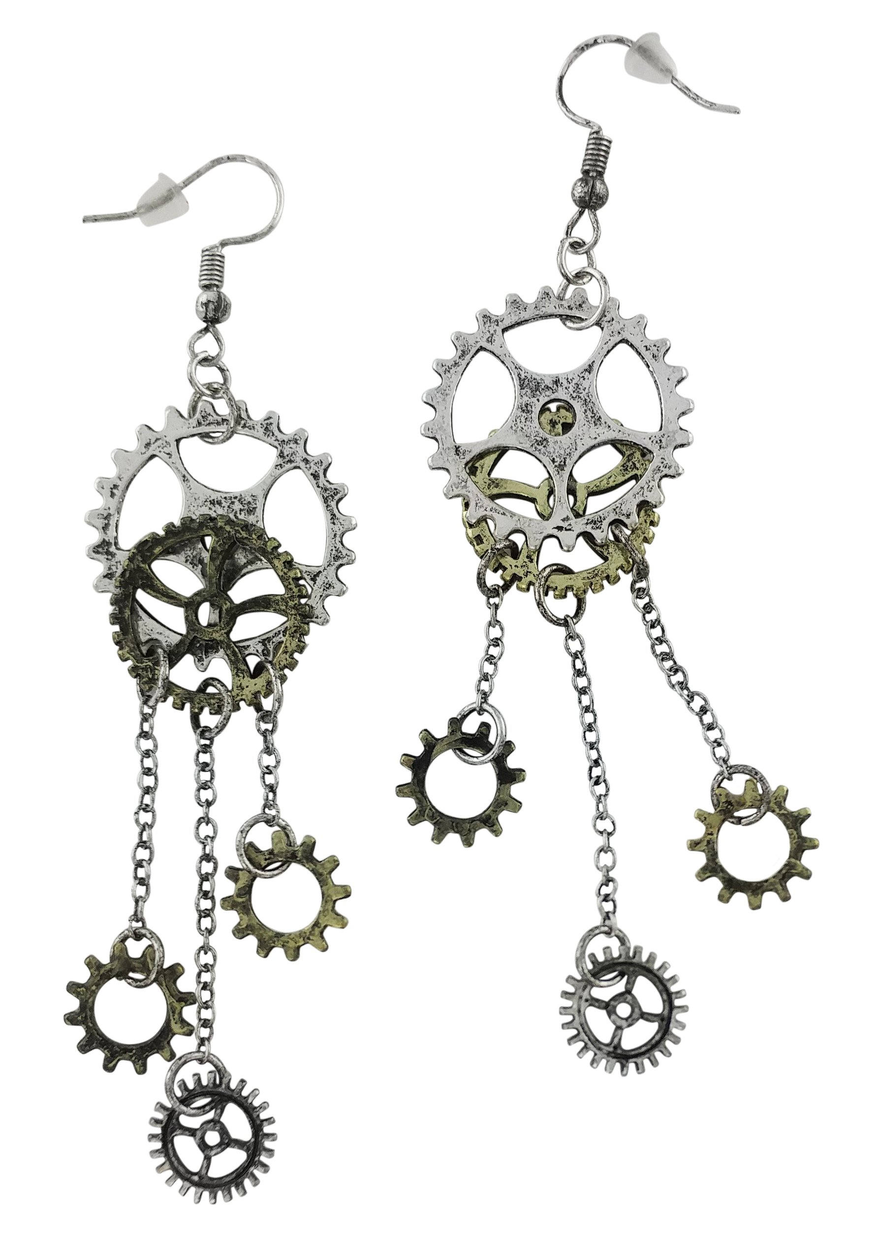 Women's Steampunk Antique Earrings for sensitive ears | Clock Wheel Gear mixed tone 3