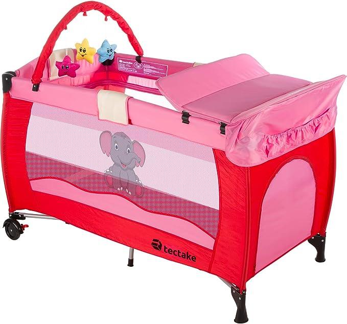 TecTake Cuna infantil de viaje portátil altura ajustable con acolchado para bebé - disponible en diferentes colores - (Rosa | No. 402202): Amazon.es: Oficina y papelería