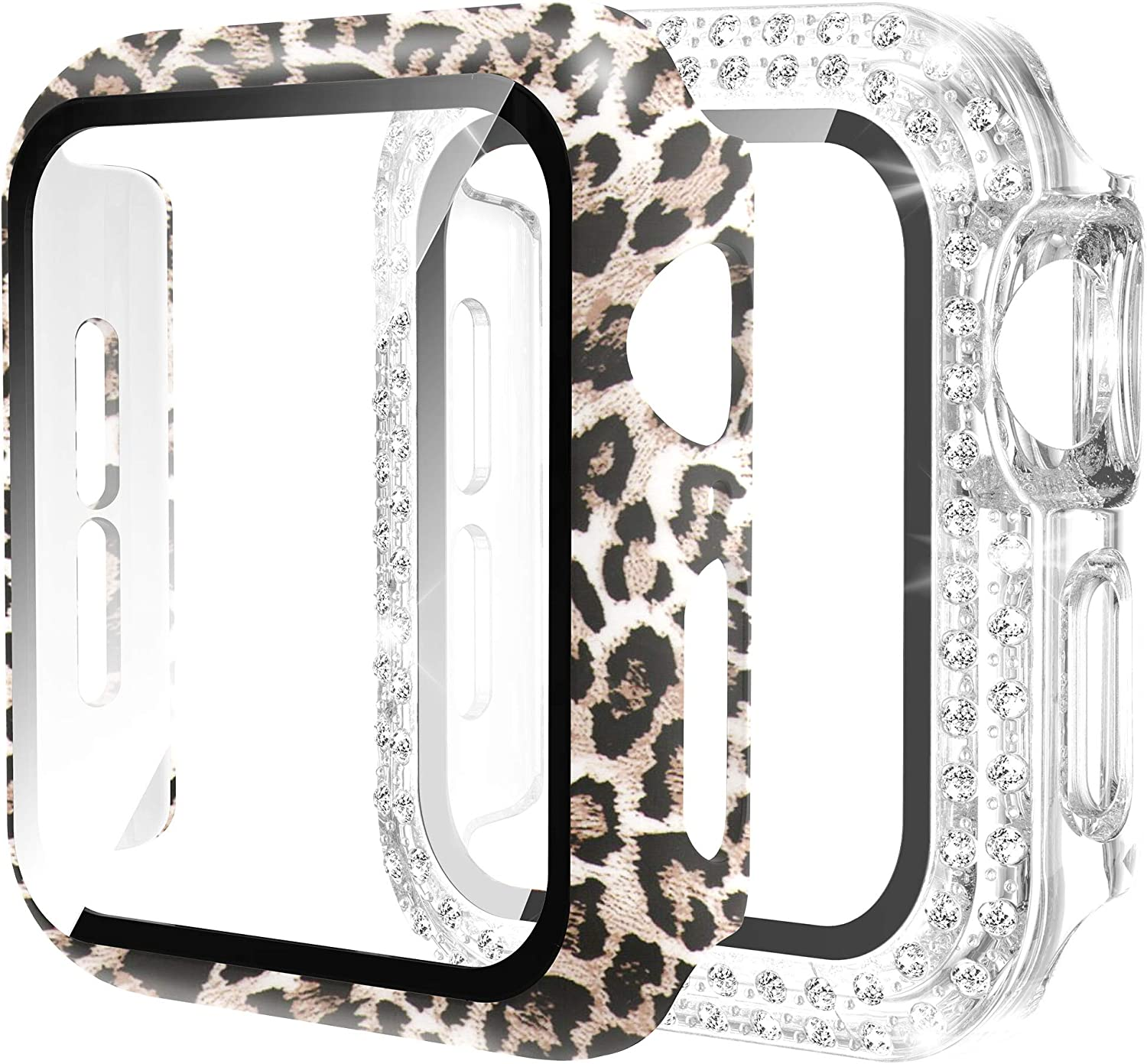 Wearlizer 2 Pack Screen Protector Case Compatible with Apple Watch 44mm Series 6 SE 5 4, Ultra-Thin Bling Diamond Full Cover Protective Bumper Case for iWatch Women Girls (Leopard+Clear Diamond, 44mm)