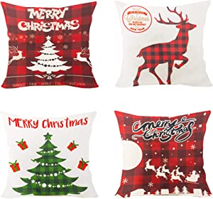 FUNPENY Christmas Pillow Covers, Set of 4 Red Grid Christmas Pillow Covers 18 x 18 Inch Santa Claus, Deer, Christmas Tree Covers for Christmas