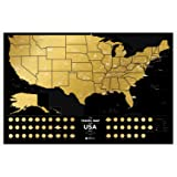 Premium Scratch Places Off US Map - 60 x 40 cm - Places I've Been USA Travel Map – Great Scratchable US Map Gift For Any Traveler – Made From Durable Flexible Plastic to Last Longer by 1DEA.me