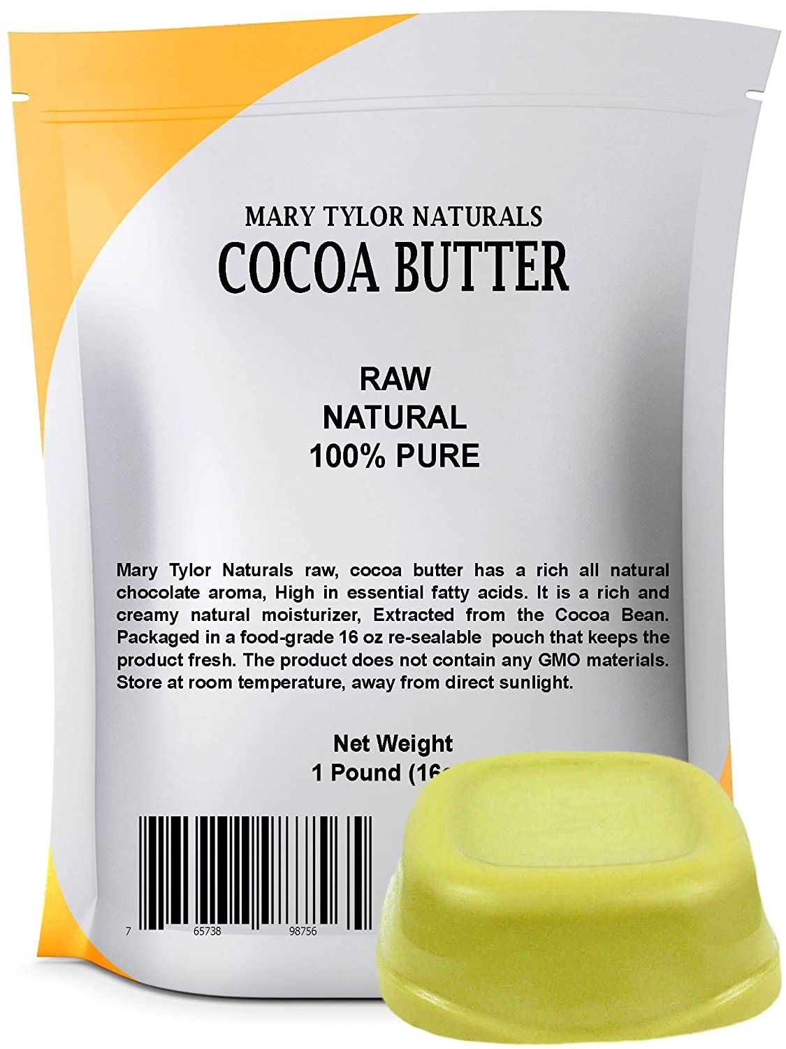 Mary Tylor Naturals Organic Cocoa Butter Large 1 lb Bar, Raw Unrefined Food Grade, Non-Deodorized, Rich In Antioxidants Great For DIY Recipes, Lip Balms, Lotions, Creams, Stretch Marks CB-0008oz