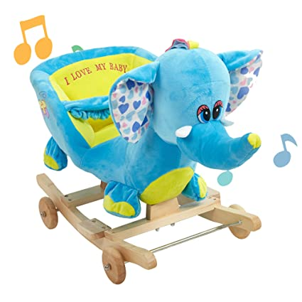Pleasant Lucky Tree Rocking Horse Elephant Rocker Chair Animal Rocker Toy Soft Comfortable Safe For Boy And Girl Elephant Gmtry Best Dining Table And Chair Ideas Images Gmtryco