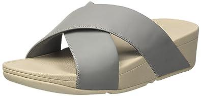 FitFlop Damen Lulu Cross Slide Sandals-Leather Peeptoe, Braun (Caramel 098), 40 EU