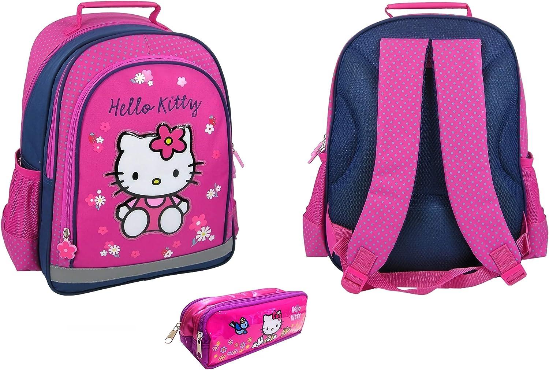 Hello Kitty - Juego Escolar con Estuche y Mochila (38 cm), diseño de Hello Kitty: Amazon.es: Equipaje