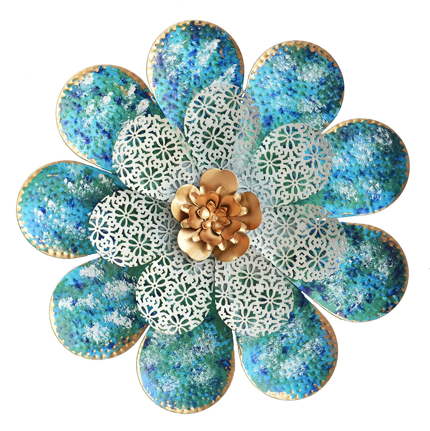 "GIFTME 5 Boho Metal Flower Wall Art Decorations Hanging for Bathdroom Livingroom Bedroom or Garden Porch Patio Wall Sculptures(13.5"" Light Blue)"