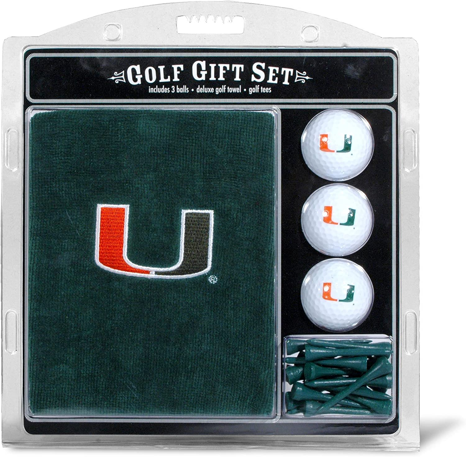 "Team Golf NCAA Gift Set Embroidered Golf Towel, 3 Golf Balls, and 14 Golf Tees 2-3/4"" Regulation, Tri-Fold Towel 16"" x 22"" & 100% Cotton"