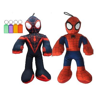 Spiderman & Miles Morales Plush Set Stuffed Animal Kids Gift Toy + Bonus with Name Tag (Small): Toys & Games