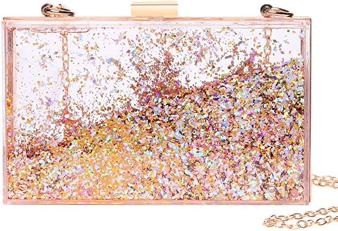 Ladies Satin Glitter Clutch Bag Accessory Evening Handbag