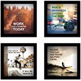 SIFTY COLLECTIONS Framed Motivational Wall Hanging (Wood, Multicolour, 23 x 23 x 6 cm) - Set of 4 Piece