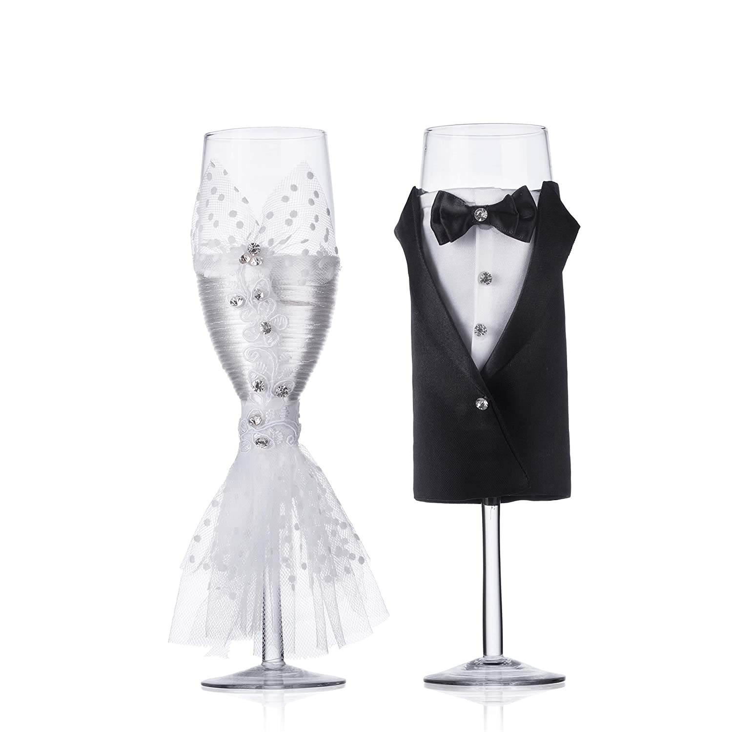 set of 2 Wedding Tuxedo Dress Wine Glasses-ULA Handmade Bride and Groom Champagne Flutes for Toasting,Wedding Gifts,Bridal Shower Gifts,Wedding Favors,Couples Gifts,Wedding Decorations