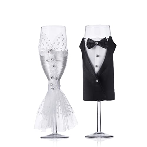 4265d8a517 Wedding Tuxedo Dress Wine Glasses-ULA Handmade Bride and Groom Champagne  Flutes for Toasting