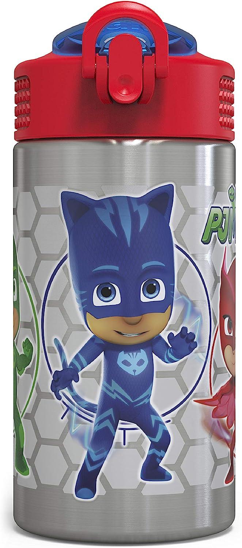 Zak Designs PJ Masks 15.5oz Stainless Steel Kids Water Bottle with Flip-up Straw Spout - BPA Free Durable Design, PJ Masks SS