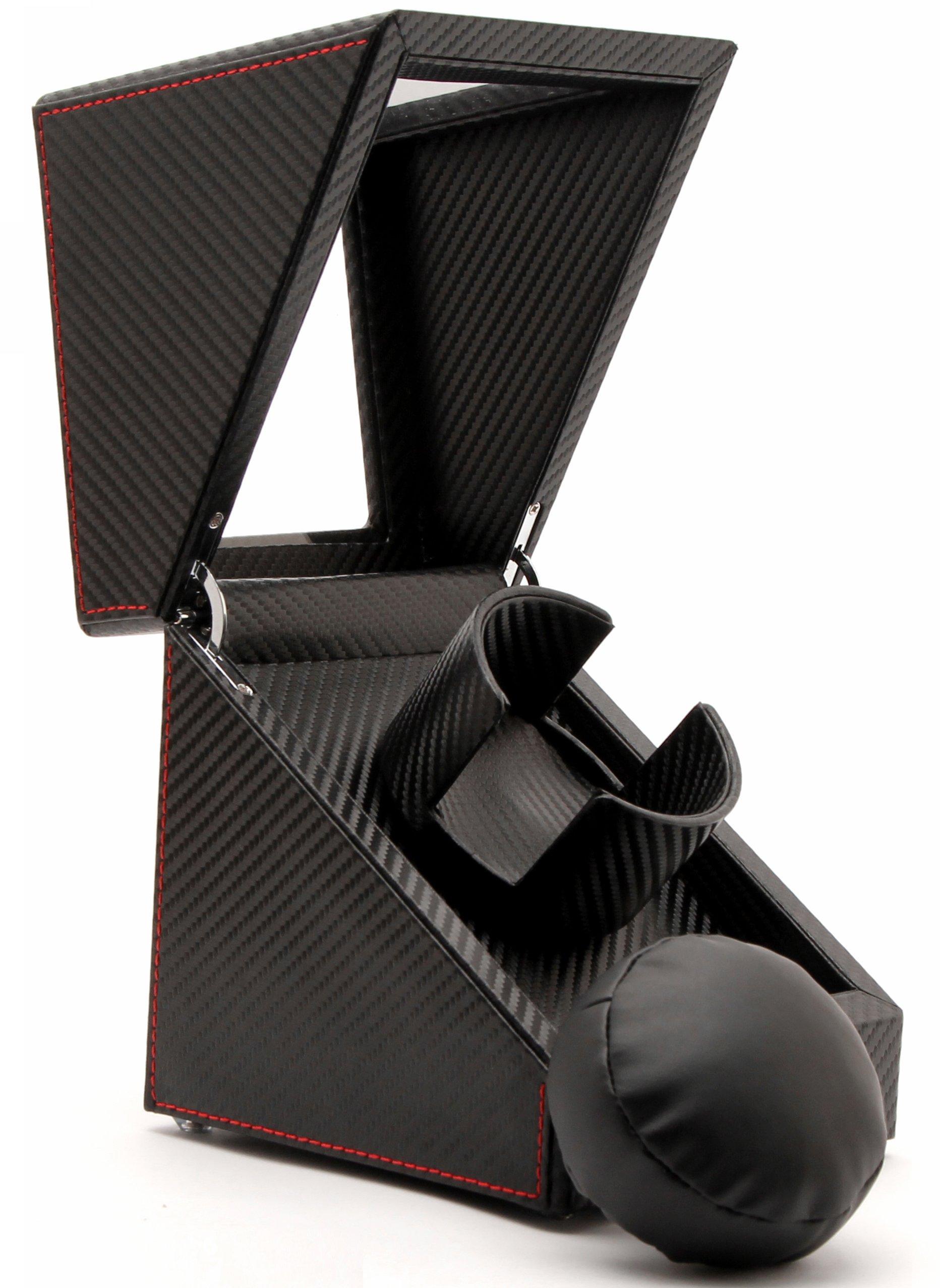 Pateker Luxury Carbon Fiber Single Watch Winder, Black Leather Display Box Case [100% Handmade]