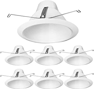 PROCURU 6-Pack 6-Inch Recessed Can Light Metal Trim, Cone Baffle Style, Air-Tight, IC-Rated, White (6-Pack)