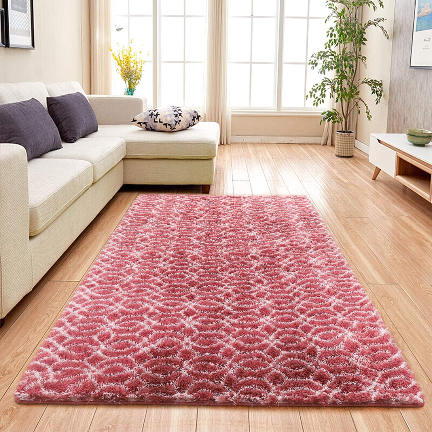 Flover Soft Indoor Large Modern Area Rugs Shaggy Patterned Fluffy Carpets Suitable for Living Room and Bedroom Nursery Rugs Home Decor Rugs Dark Pink & White (4x6 ft)