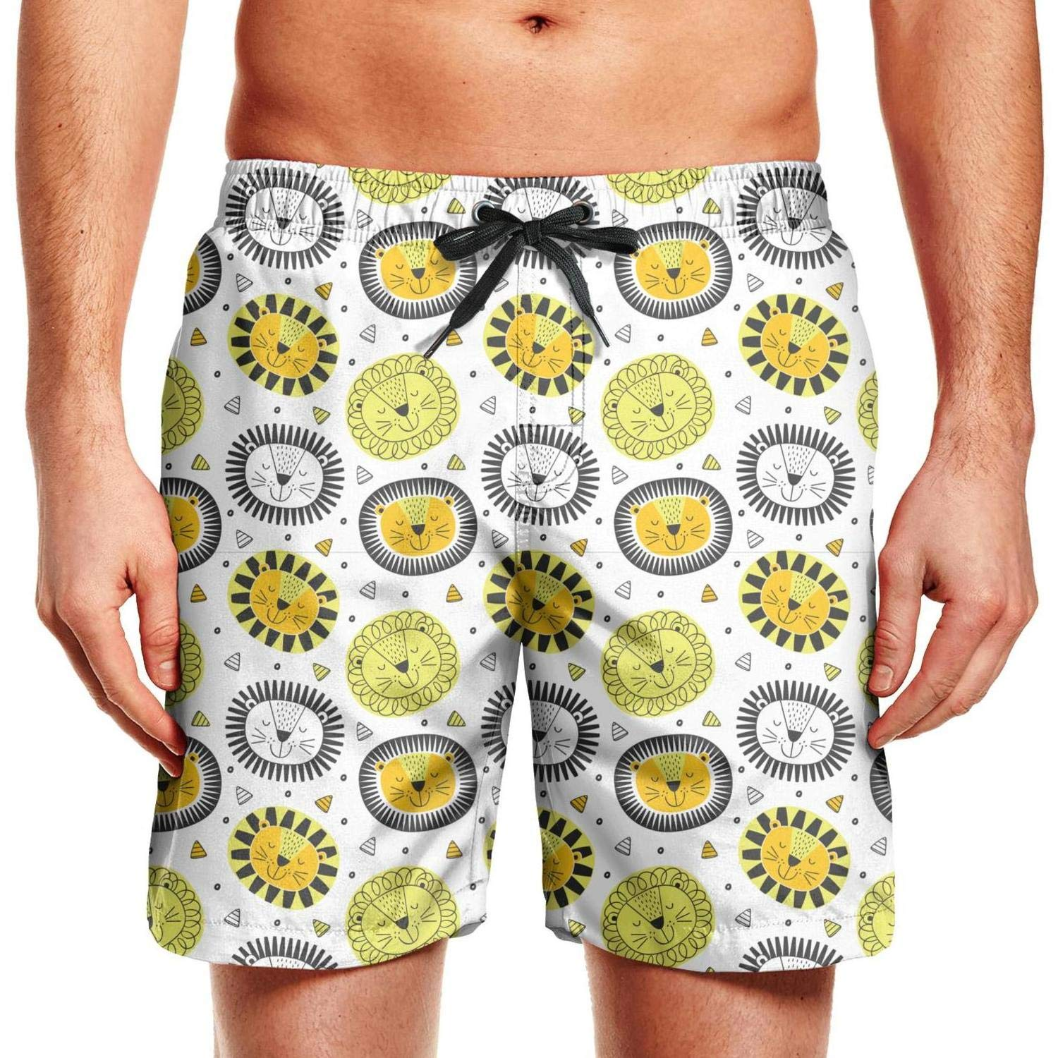 Funny Lion Gold Playing Mens Guys Swim Trunks Water Sport Plus Size Board Shorts