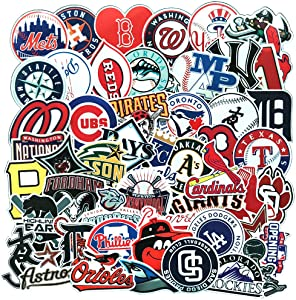Ratgoo 53Pcs Funny MLB Baseball Sports Logo Waterproof Vinyl Graffiti Stickers for Kids Teens Boys Girls Students,Decals for Water Bottles Luggage Phone MacBook Toddler Flasks Bike Car Room Wall Desk