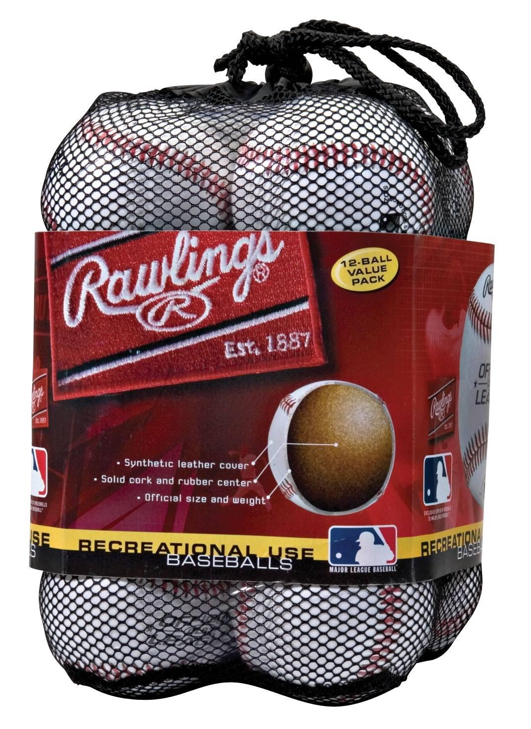 Rawlings Offizielle League Freizeitgebrauch Basebälle, Tasche von 12, menolb3bag12