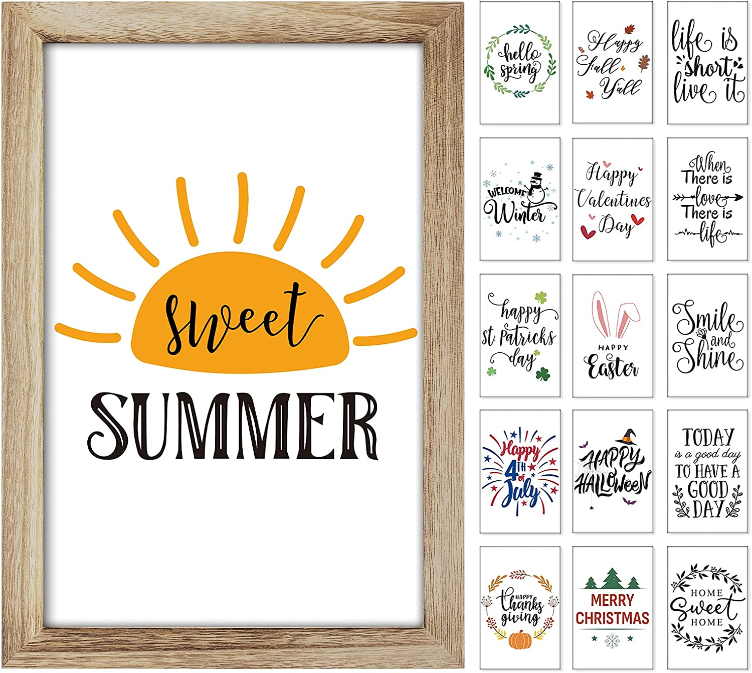 """Farmhouse Wall Decor Signs with 16 Interchangeable Sayings, Easy to Hang 11x16"""" Large Rustic Wood Picture Frame (with Glass) with 16 Designs for Seasonal and Holiday Home Decor, Summer Decorations for Home"""