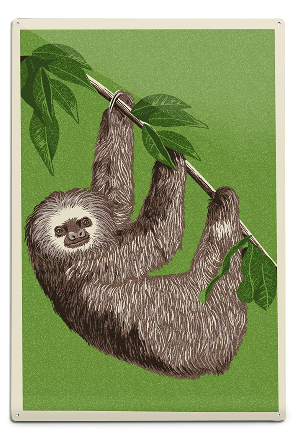 2つToed Sloth – 活版 12 x 18 Metal Sign LANT-66396-12x18M B06Y1FL4LG  12 x 18 Metal Sign