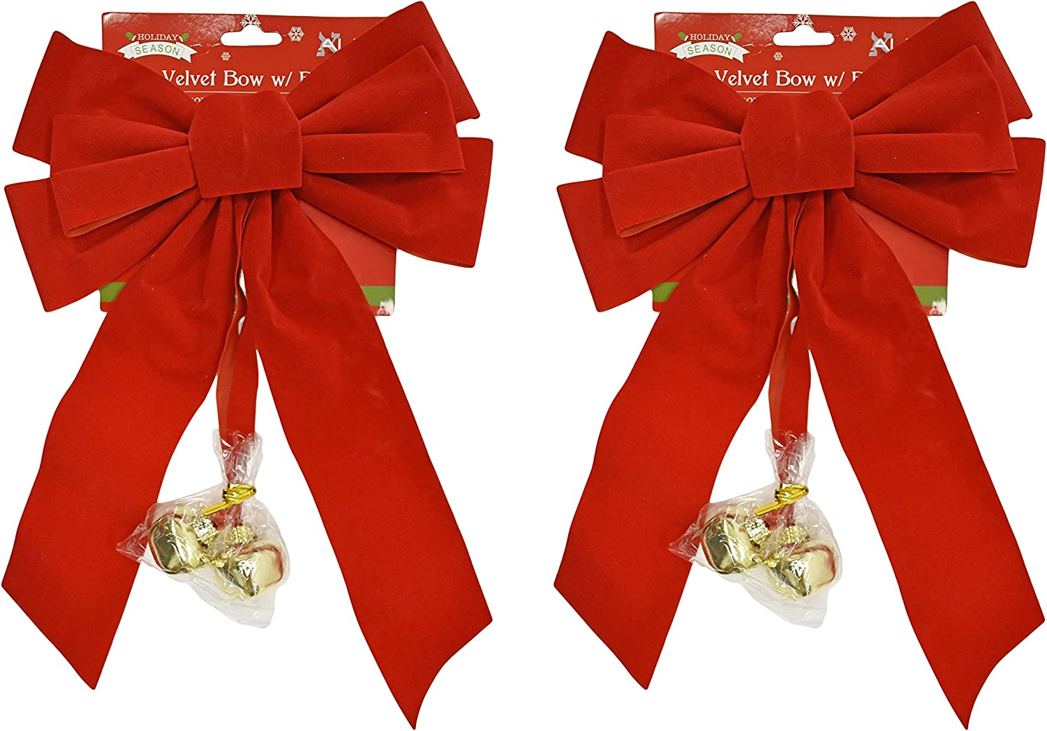 Set of 2 Red Velvet Festive Holiday Christmas Bows With Bells - Perfect as Tree Ornaments - Tree Filler - Decorative Ornaments - Perfect for Preparing for the Holidays! (2, Red Velvet With Bells)
