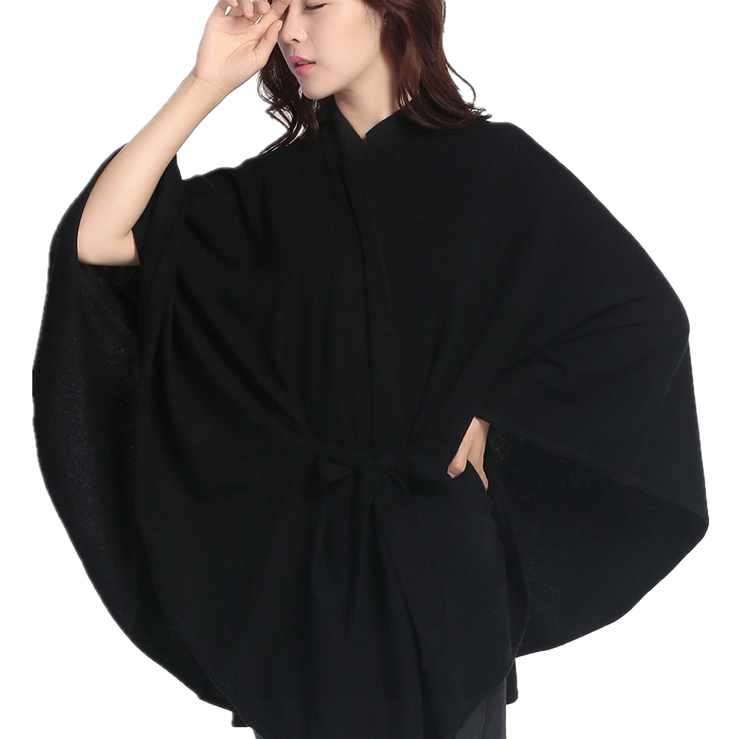 DILLY FASHION Women's Knitted Oversize Blanked Poncho Cape Shawl Long Cardigan Coat with Belt (Black)