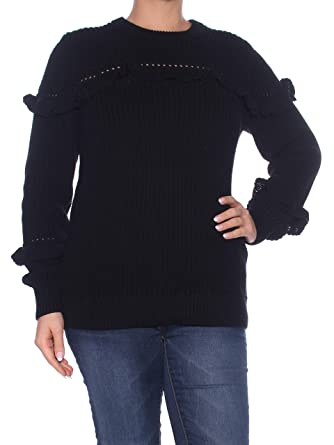 883dc674c Image Unavailable. Image not available for. Color  MICHAEL Michael Kors  Women s Rib Ruffle Sweater ...