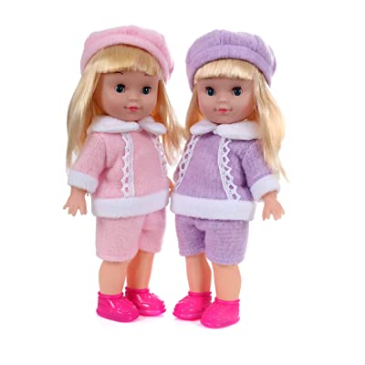 Mommy & Me Twin Dolls for Girls Baby Doll Jessie and Bessie Lovable 10 Inch Twin Dolls Matching Pink and Purple Outfits with Vinyl Face/Hands and Hard Body: Toys & Games