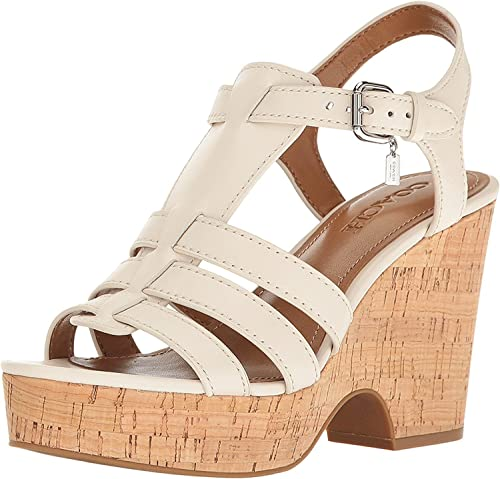 4228e4dfe87 Image Unavailable. Image not available for. Color  Coach Womens Kennedy  Chalk Wedge Sandal ...