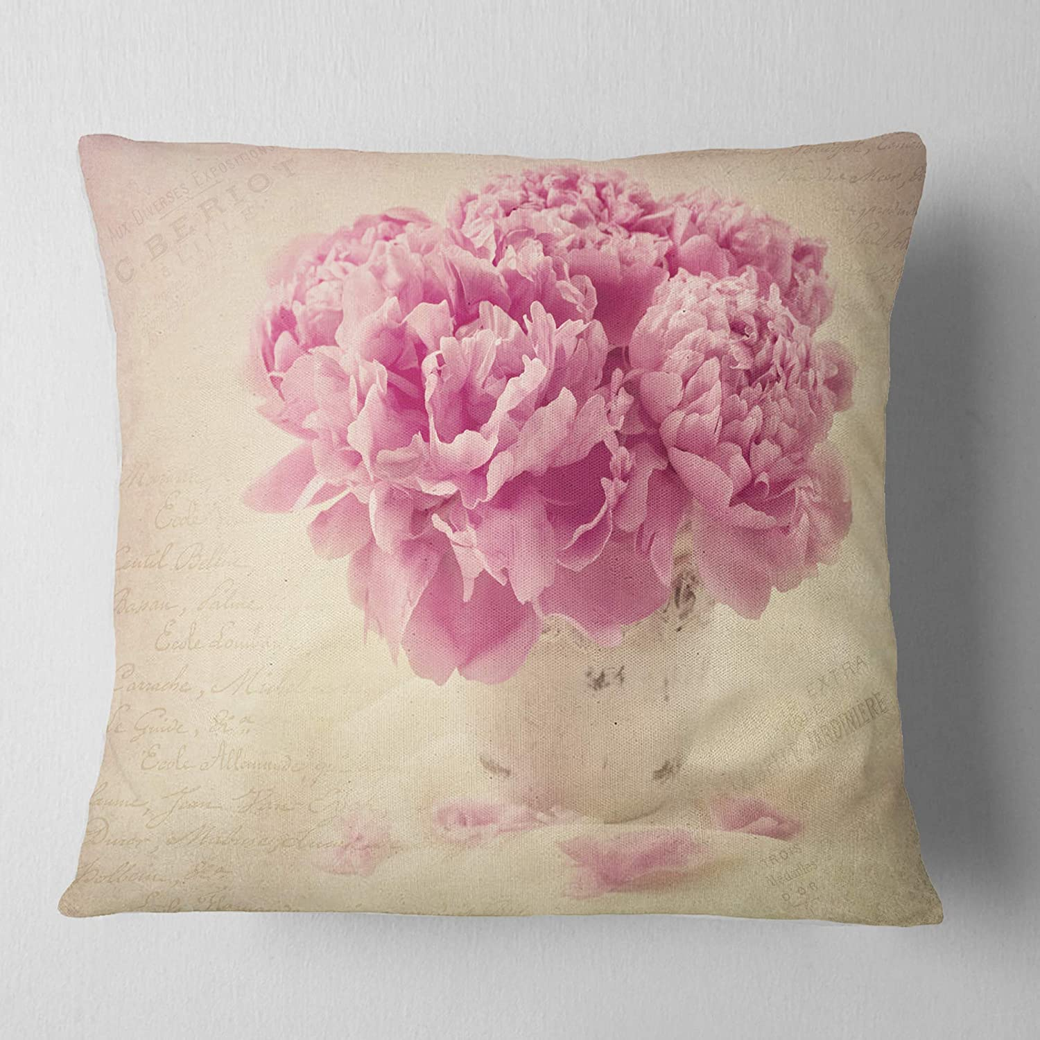 x 26 in in Sofa Throw Pillow 26 in Designart CU14201-26-26 Bunch of Peony Flowers on Table Floral Cushion Cover for Living Room Insert Printed On Both Side