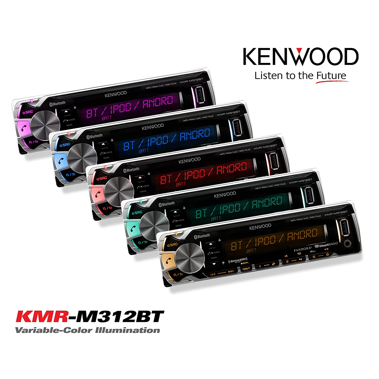 Complete Marine Outdoor Aud New Kenwood Marine Boat Yacht Bluetooth Digital USB AUX iPod iPhone AM//FM Radio Stereo Player With 4 X 6.5 Inch Kenwood Marine Audio Speakers Kenwood KAC-M2504 Compact 4-channel Marine Amplifier And Enrock Marine 45 Antenna