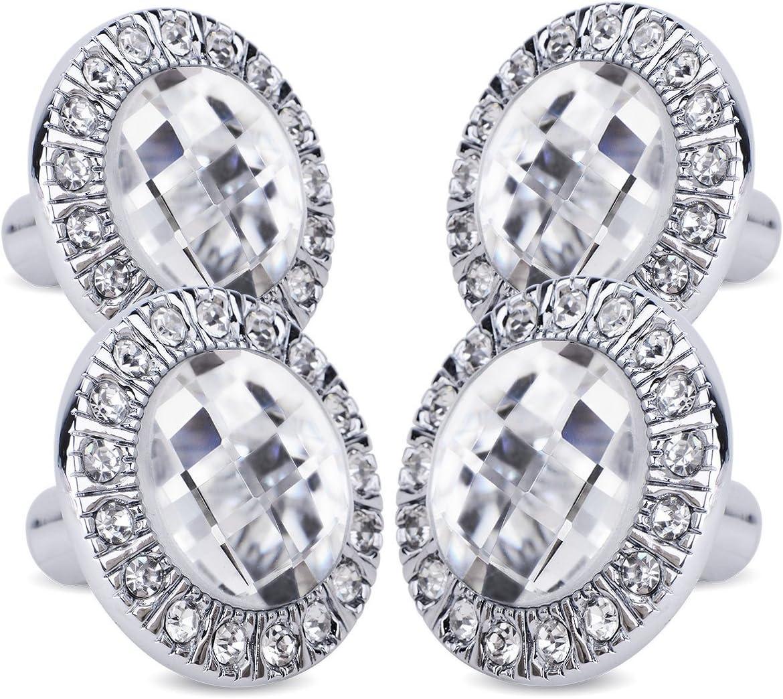 4 Pomos Tirador para Cajon Armarios Cristal Brillo color Plateado diamond handle