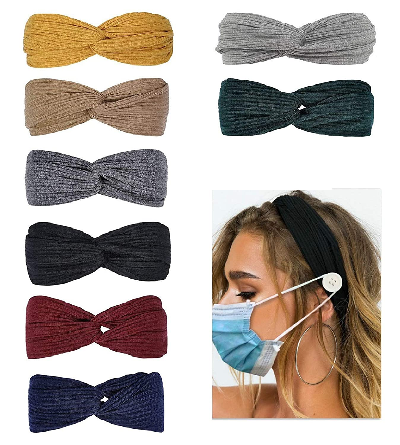 Huachi Headbands for Women Knotted Boho Stretchy Hair Bands for Girls Criss Cross Turban Plain Headwrap Yoga Workout Vintage Hair Accessories, Solid Color, 8Pcs : Beauty