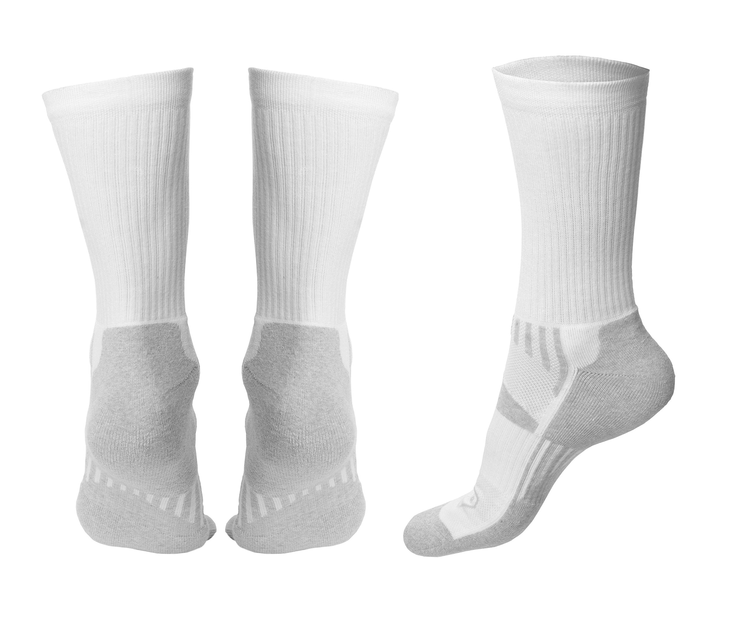 Mens Athletic Crew Socks - Genuine Cotton Socks for Sport and Hiking (White Gray) (Medium 4 pairs)