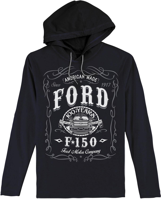 Ford Pullover Hoodie Men/'s Sweatshirt Black Blue Ford Screen Printed Logos SALE