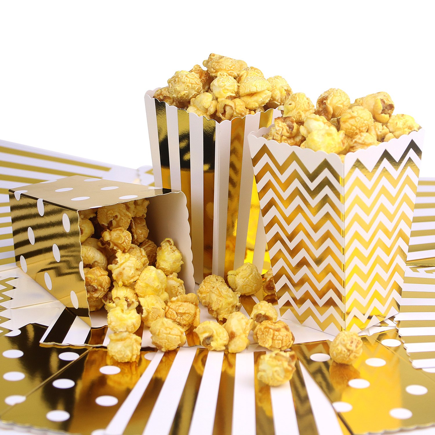 Simla Decor 36pcs Gold Popcorn Boxes Favor Boxes Bakery Box for Treats Birthday Party Bridal Shower Movie Night Sleepover Party Baby Shower in Chevron Stripe and Polka Dot