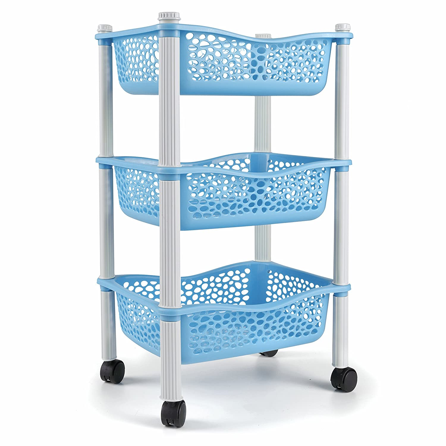 Kitchen storage trolley cart with baskets and wheels Fruit Vegetable ...