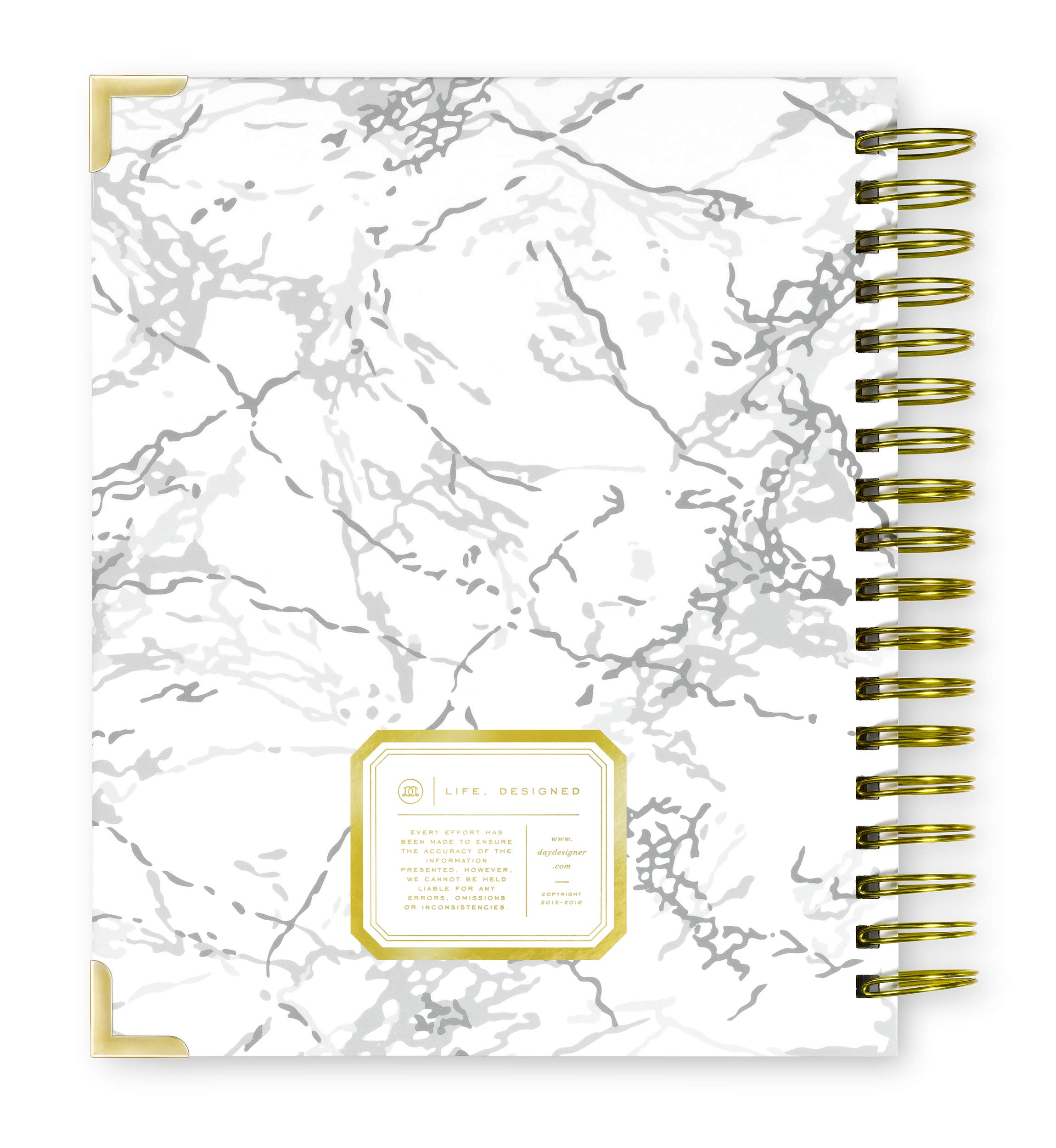 Day Designer 2019-2020 Daily Life Planner and Agenda, Hardcover, Twin-Wire Binding, 9'' x 9.75'', White Marble by Day Designer (Image #7)