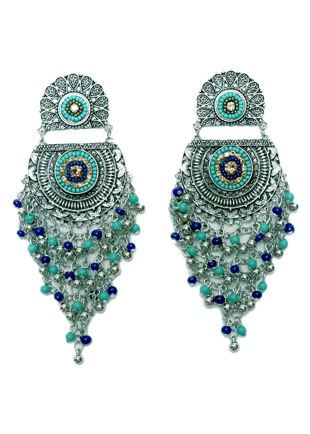Chandbali Dangler Jhumki With hanging Beads Indian Traditional Jewellery for Stylish Women and Girls by SP Jewels