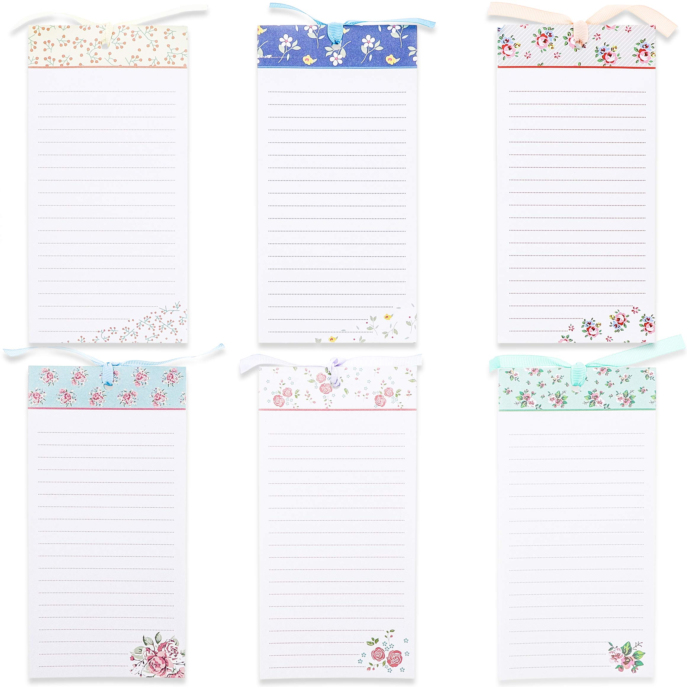 To-Do-List Notepad - 6-Pack Magnetic Notepads, Fridge Grocery List Magnet Memo Pad for Shopping, To Do List, Reminders, House Chores, Assorted Flower Designs, 60 Sheets Per Pad, 4 x 8 Inches by Juvale