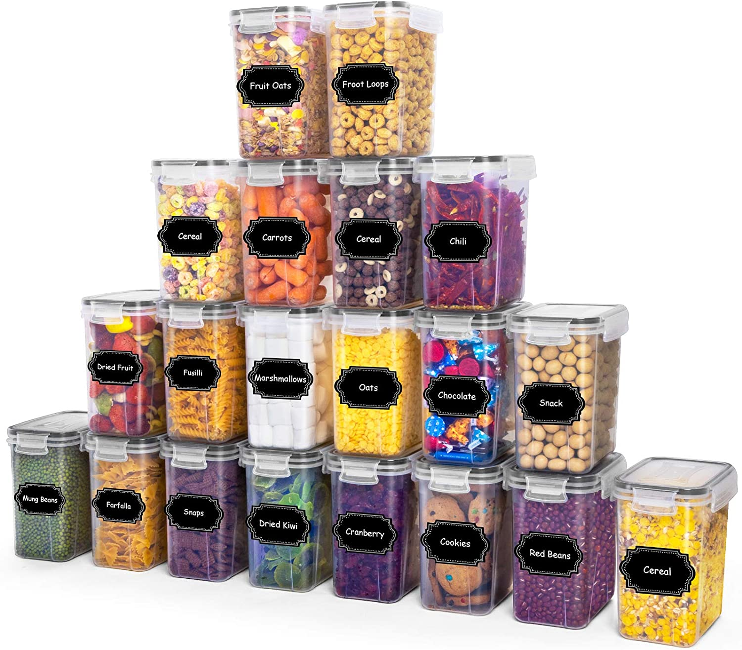 PRAKI Airtight Food Storage Container with Lids, 20 PCS 1.6L Dry Food Canisters Set, Leep-Proof Kitchen Pantry Organization, ideal for Cereal, Flour, Sugar, Snack and Baking Supplies (Black)