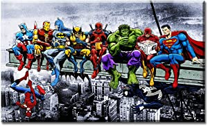 Superheros Girder Lunch Atop Skyscraper Canvas Wall Art Painting Movie Poster for Home Decor Livingroom Kidsroom StretchedandFramedReadytoHang