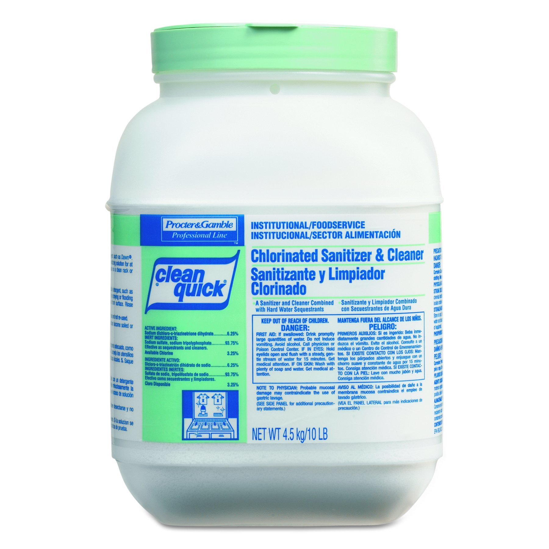Clean Quick Professional Chlorine Powder Sanitizer and Cleaner, 10 lbs. Container (Case of 3)