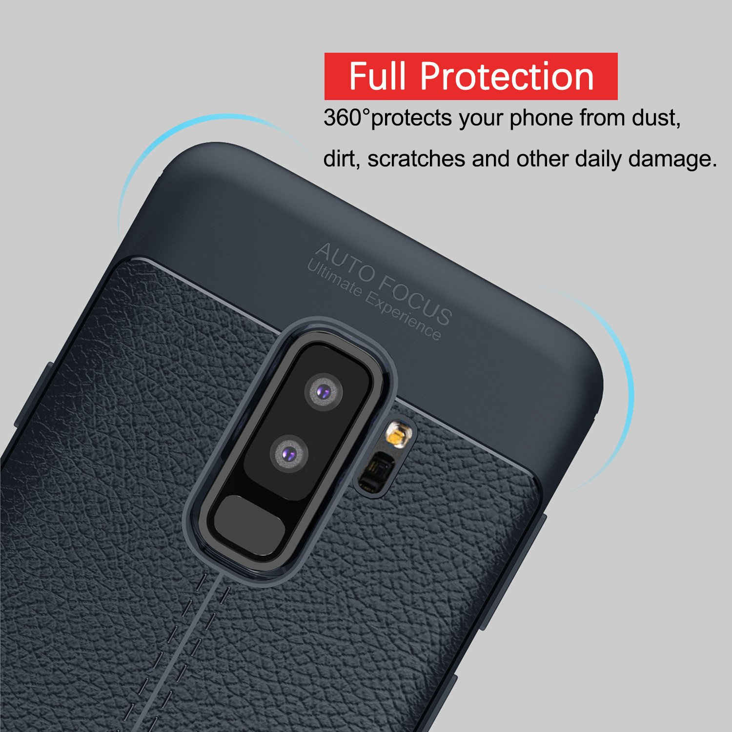 Samsung Galaxy S9 Soft Case, PRODELI Ultra Slim Flexible Leather TPU Protective Case Cover Shockproof,Anti-Scratch,Easy Grip,Full Protective Case for Galaxy S9 (Navy)